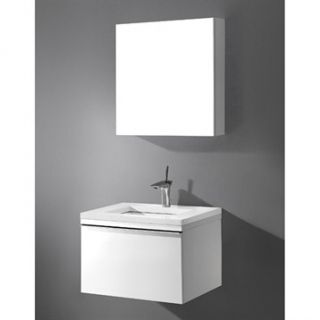 Madeli Venasca 24 Bathroom Vanity with Quartzstone Top   Glossy White