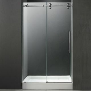 VIGO 48 inch Frameless Shower Door 3/8 Clear/Stainless Steel Hardware with Whit