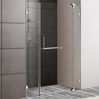 VIGO 54 inch Frameless Shower Door 3/8 Clear Glass