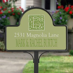 Personalized Yard Stake Address Plaque   Floral Monogram