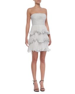 Womens Strapless Tiered Ruffle Polka Dot Dress, Black/White   Erin by Erin