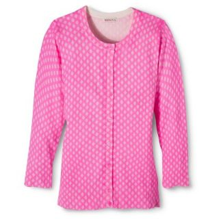 Merona Womens Ultimate 3/4 Sleeve Crew Neck Cardigan   Pink Print   XS
