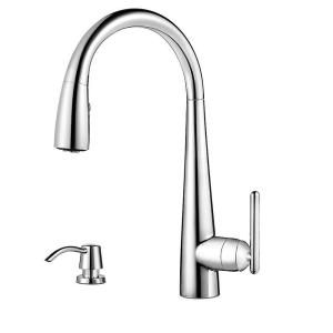 Pfister Lita Single Handle Pull Down Sprayer Kitchen Faucet with Soap Dispenser in Polished Chrome GT529 SMC