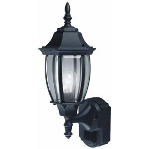 Hampton Bay Alexandria 180 Degree Outdoor Black Motion Sensing Decorative Lamp HBI 4192 BK