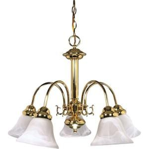 Glomar Ballerina 5 Light Polished Brass Chandelier with Alabaster Glass Bell Shades HD 185