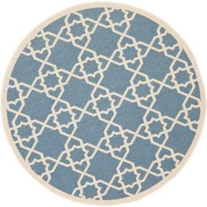 Safavieh Courtyard Blue/Beige 5.3 ft. x 5.3 ft. Round Area Rug CY6032 243 5R
