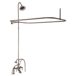 Barclay Products 3 Handle Claw Foot Tub Faucet with Hand Shower and Shower Unit in Brushed Nickel 4063 PL BN