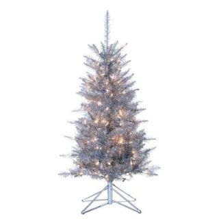 Sterling, Inc. 4 ft. Pre Lit Tiffany Silver Tinsel Artificial Christmas Tree with Clear Lights 6015 40SL