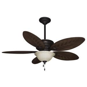 Hunter Grand Cayman 54 in. Onyx Bengal Damp Rated Ceiling Fan with Light Kit 54050