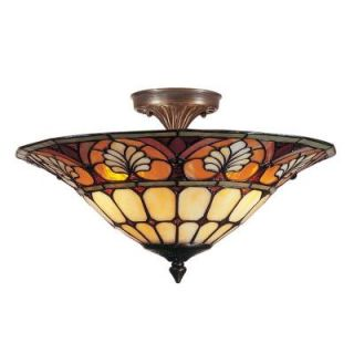 Dale Tiffany 3 Light Antique Golden Sand Dylan Tiffany with Semi Flush Mount TM100598