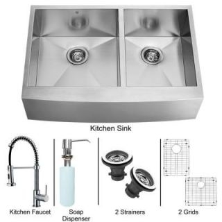 Vigo All in One Apron Front Stainless Steel 40x25.50x14 0 Hole Double Bowl Kitchen Sink and Chrome Faucet Set VG15192