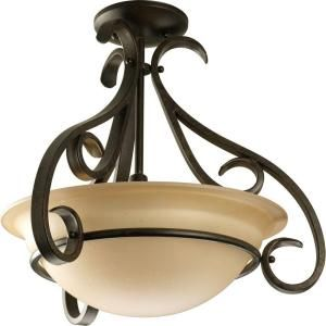 Progress Lighting Torino Collection 3 Light Forged Bronze Semi Flush Mount P3843 77