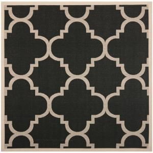 Safavieh Courtyard Black/Beige 7.8 ft. x 7.8 ft. Square Area Rug CY6243 266 8SQ