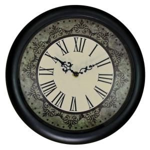 Home Decorators Collection 12 in. Brushed Black Ornate Roman Numeral Wall Clock 34440