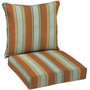 Hampton Bay Fontina Stripe Welted 2 Piece Pillow Back Outdoor Deep Seating Cushion Set AD20911B 9D1