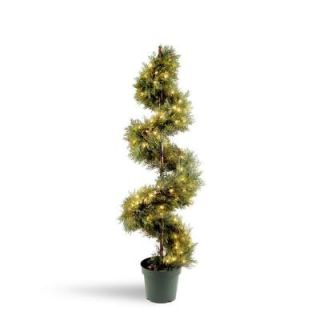 National Tree Company 5 ft. Pre Lit Juniper Slim Spiral Tree with 150 Clear Lights LCYSP 300 60