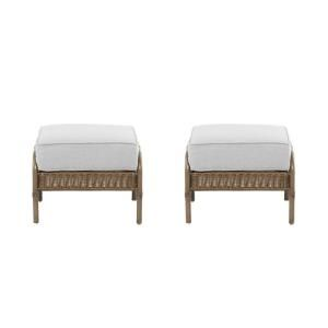 Hampton Bay Clairborne Patio Ottoman with Bare Cushion (2 Pack) DY11079 O B
