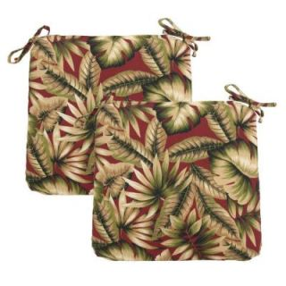Hampton Bay Chili Leaves Outdoor Chair Cushion (2 Pack) 7348 02256000