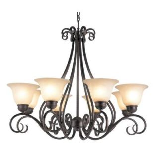 Filament Design Cabernet Collection 8 Light Oiled Bronze Chandelier with Tea Stained Shade CLI WUP599016