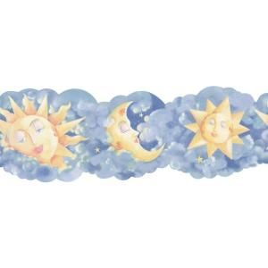 The Wallpaper Company 6.75 in. x 15 ft. Blue and Yellow Novelty Celestial Border WC1282826