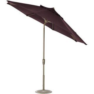Home Decorators Collection 11 ft. Auto Tilt Patio Umbrella in Fife Plum Sunbrella with Champagne Frame 1549720370