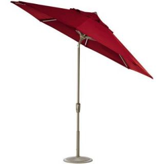Home Decorators Collection 11 ft. Auto Tilt Patio Umbrella in Red Sunbrella with Champagne Frame 1549720110