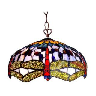 Chloe Lighting Tiffany Style Dragonfly 2 Light Stainless Steel Pendant Fixture with 18 in. Shade CH1049DB18 DH2