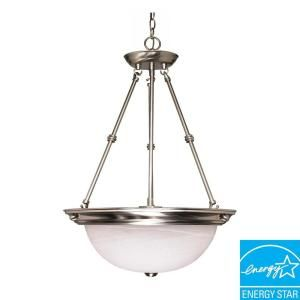 Glomar Green Matters 3 Light Hanging Brushed Nickel Pendant Light HD 3188