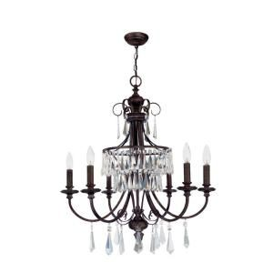 World Imports Lillie Collection 6 Light Hanging Bronze Chandelier DISCONTINUED WI584689