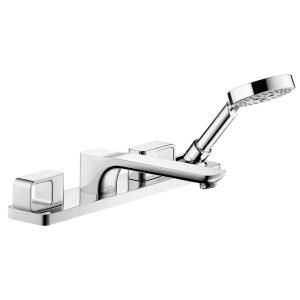 Hansgrohe Axor Urquiola 2 Handle Deck Mount Roman Tub Faucet Trim Kit with Handshower in Chrome (Valve Not Included) 11443001