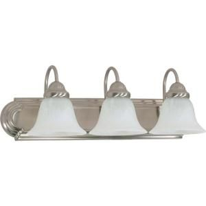 Glomar Ballerina 3 Light Brushed Nickel Vanity with Alabaster Glass Bell Shade HD 321