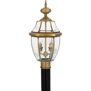 Filament Design 2 Light 12 in. Outdoor Polished Brass Post Light with Clear Glass CLI GH8009321