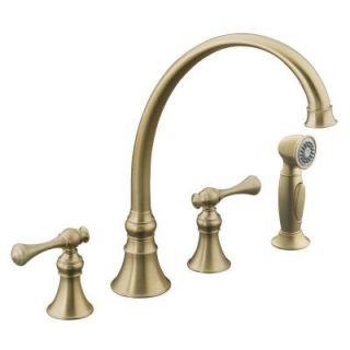 KOHLER Revival Traditional 2 Handle Kitchen Faucet in Vibrant Brushed Bronze K 16109 4A BV