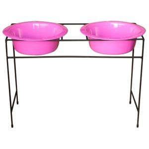 Platinum Pets 12 Cup Wrought Iron Modern Diner Dog Stand with Extra Wide Rimmed Bowls in Pink MDDS96PNK