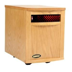 SUNHEAT 17.5 in. 1500 Watt Infrared Electric Portable Heater with   Golden Oak SH 1500 Golden Oak