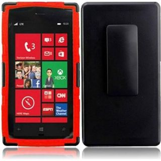 INSTEN For Nokia Lumia 928 Side Stand With Holster Design Case Black/Red Accessories