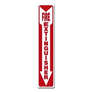 Lynch Sign 4 in. x 20 in. Decal Red on White Sticker Fire Extinguisher with Arrow Down FES   2 DC