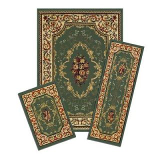Capri Rose Medley 3 Piece Set Contains 5 ft. x 7 ft. Area Rug, Matching 22 in. x 59 in. Runner and 22 in. x 31 in. Mat XX40/372 G
