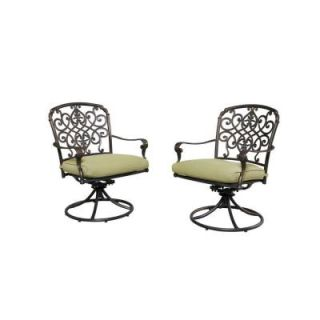 Hampton Bay Edington Swivel Patio Dining Chair with Celery Cushion (2 Pack) 141 034 SR2