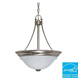 Glomar Triumph 2 Light Hanging Brushed Nickel Pendant with Alabaster Shade HD 465