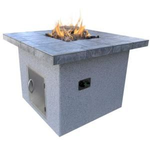 Cal Flame Stucco and Tile Dining Height Square Propane Gas Fire Pit FPT S302 H