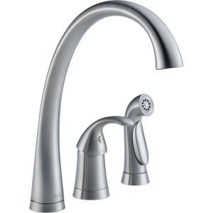 Delta Pilar Waterfall Single Handle Kitchen Faucet with Spray in Arctic Stainless 4380 AR DST
