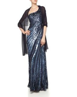 One Shoulder Sequined Gown, Navy