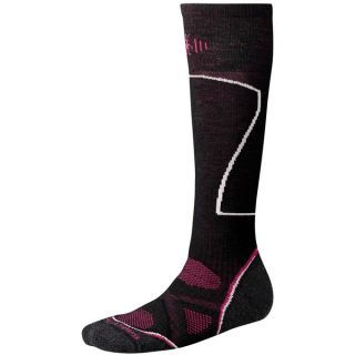 SmartWool PhD Ski Socks   Merino Wool  Over the Calf (For Women)   BLACK (S )