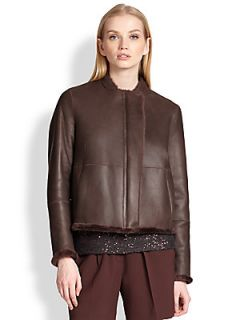 Brunello Cucinelli Reversible Shearling & Leather Jacket   Chocolate