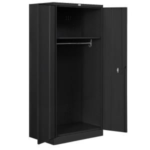 Salsbury Industries 8000 Series 36 in. W x 78 in. H x 24 in. D Wardrobe Heavy Duty Storage Cabinet Assembled in Black 8174BLK A