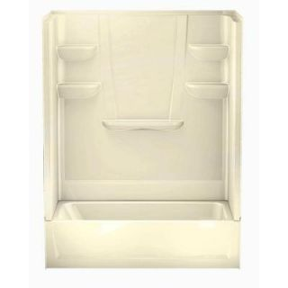 Aquatic A2 30 in. x 60 in. x 76 in. Four Piece Direct to Stud Tub/Shower Wall in Biscuit 6030CTSR BI
