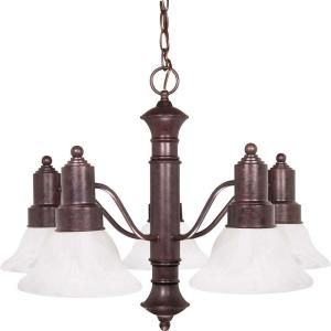 Glomar Gotham 5 Light Old Bronze Chandelier with Alabaster Glass Bell Shades HD 191