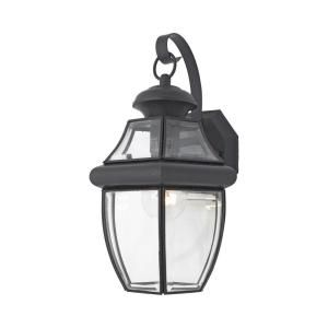 Filament Design 1 Light Outdoor Mystic Black Clear Glass Wall Mount Light CLI GH8009093