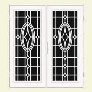 Unique Home Designs Modern Cross 72 in. x 80 in. White Right Hand Recessed Mount Aluminum Security Door with Charcoal Insect Screen 1S2506KN2WHISA